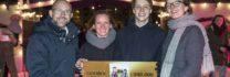 NLD/Amsterdam/20170103 - Gouden Film uitreiking Mees Kees Langs de Lijn op de ijsbaan op het Museumplein.  Op de foto: Tijs van Marle, Aniëlle Webster, Leendert de Ridder en Sanne Wallis de Vries