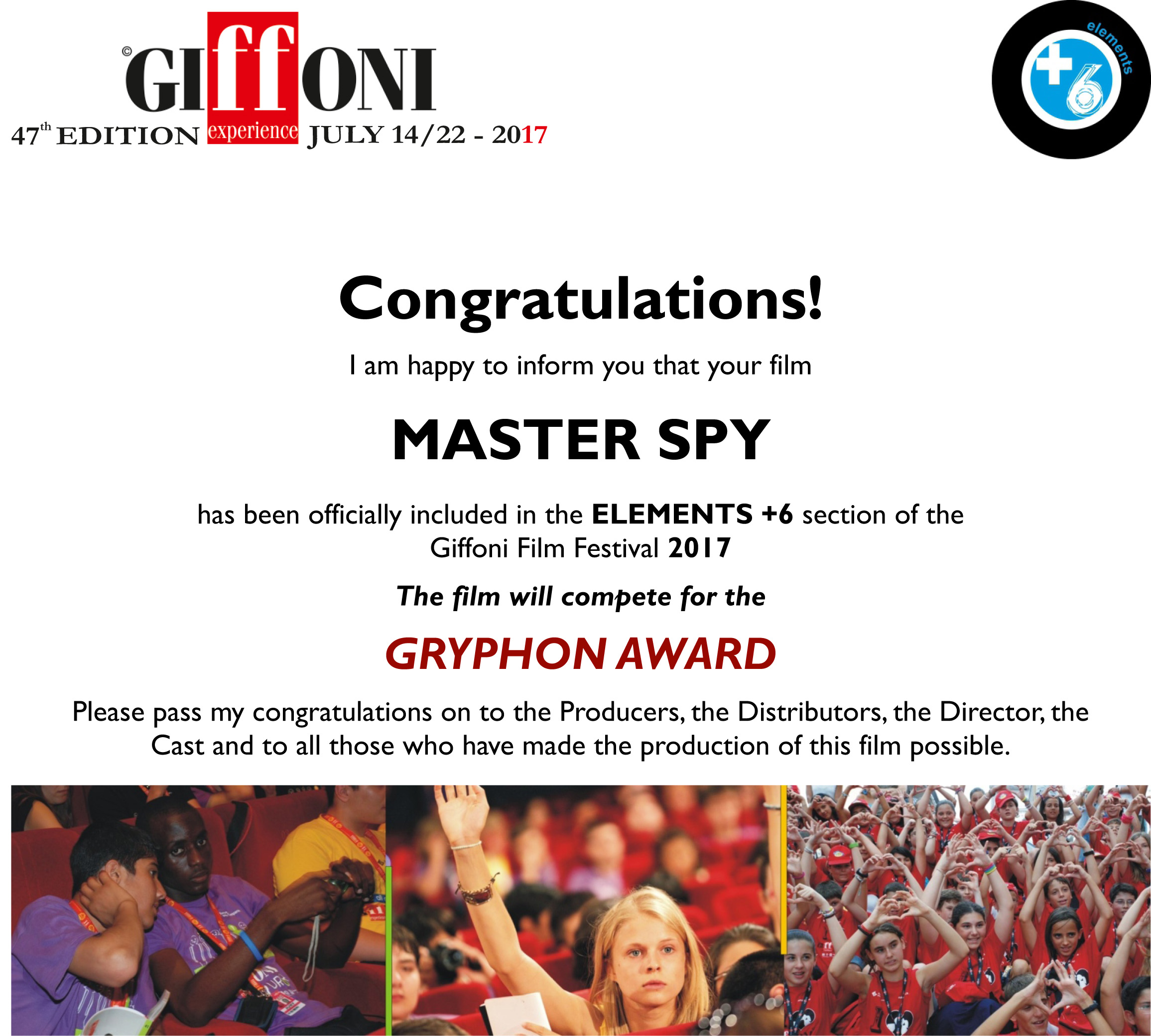 MeesterSpion gaan naar Giffoni!!